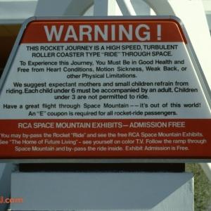Space Mountain Warning 1979