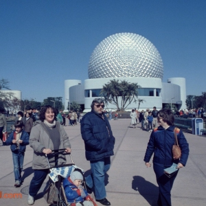 Image dated Jan. 1984 from (Brian - no last name).  Backside of Spaceship Earth attraction.
