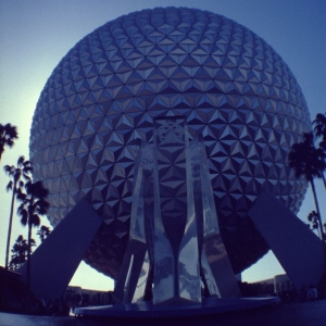 Image dated Jan. 1984 Epcot Center fountain with Spaceship Earth attraction in background.