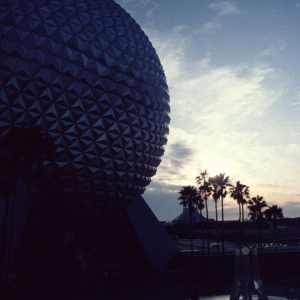Spaceship Earth With Pylon Fountain