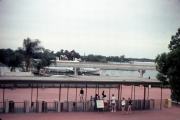 Photo take from Main St. USA Train Station looking past turnstiles for Seven Seas Lagoon.