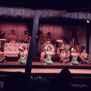 Dancers and the band at the Polynesian Luau