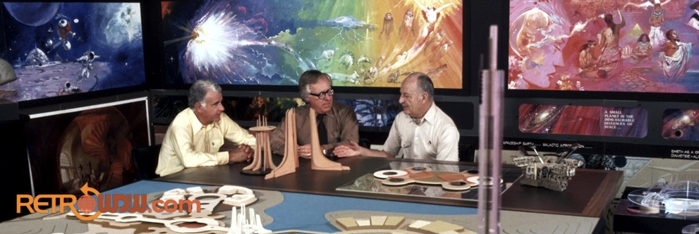 Card Walker, Ray Bradbury and John Hench discussing EPCOT Center