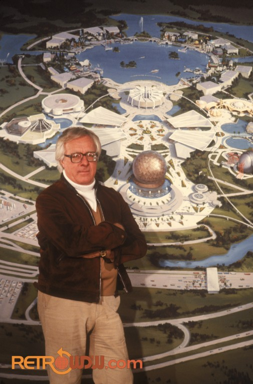 Ray Bradbury with early concept painting of EPCOT Center