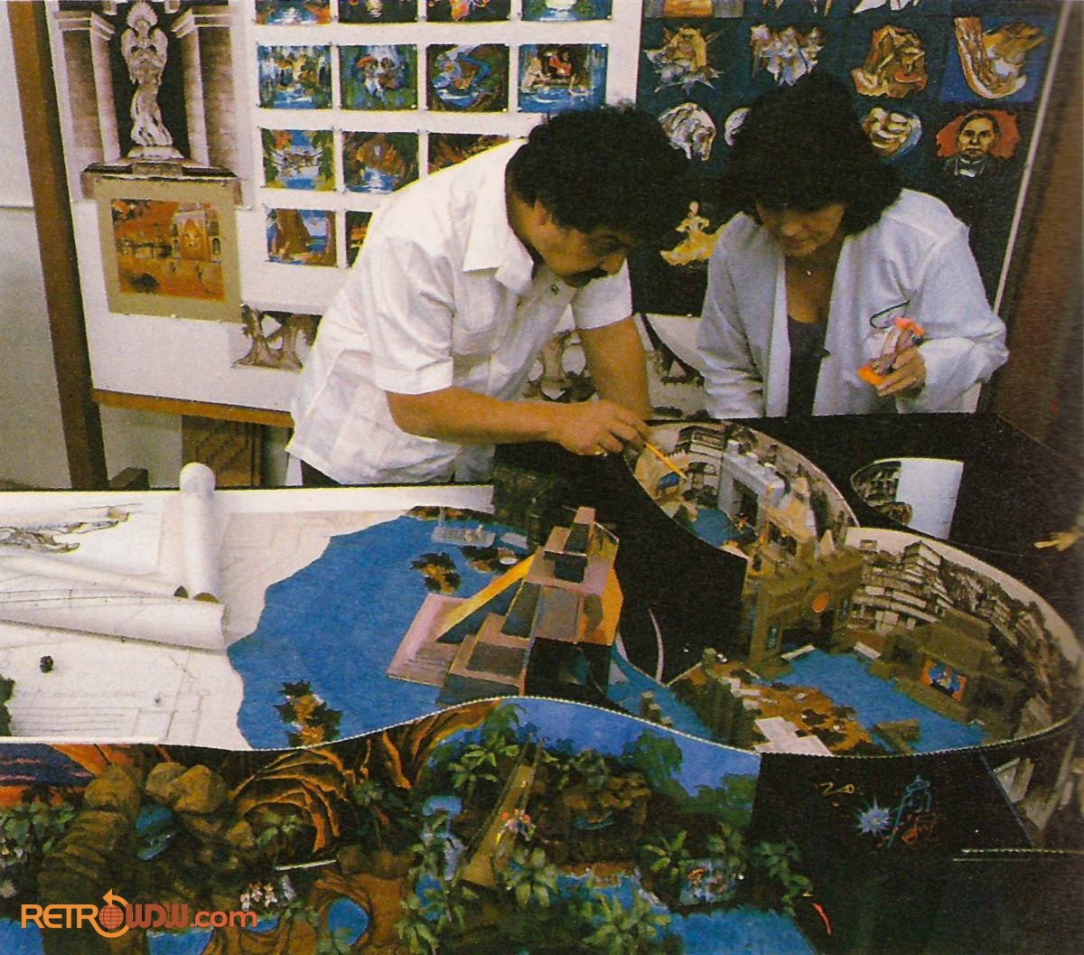 Imagineers Studying Mexico Pavilion Scale Model