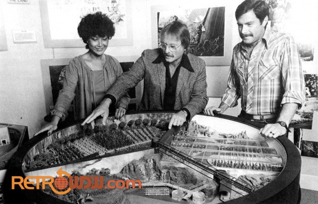 Doris Woodward and two Imagineers with a Land pavilion model