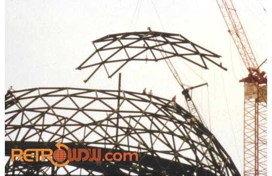 Installing a section of Spaceship Earth's first shell