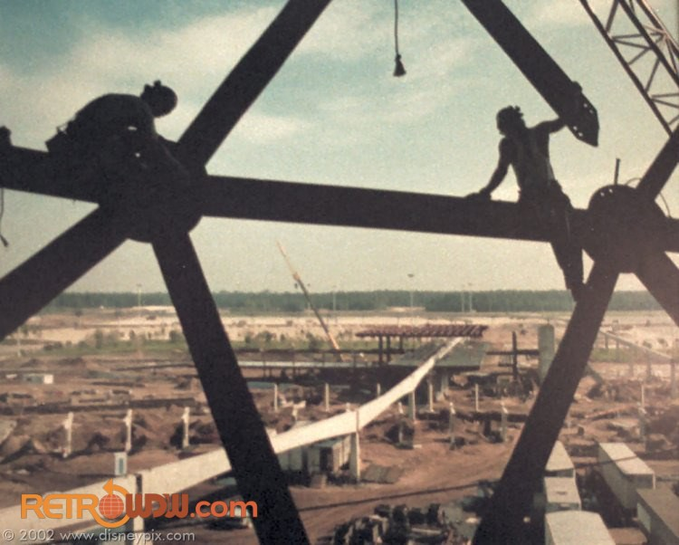 Spaceship Earth first shell being assembled