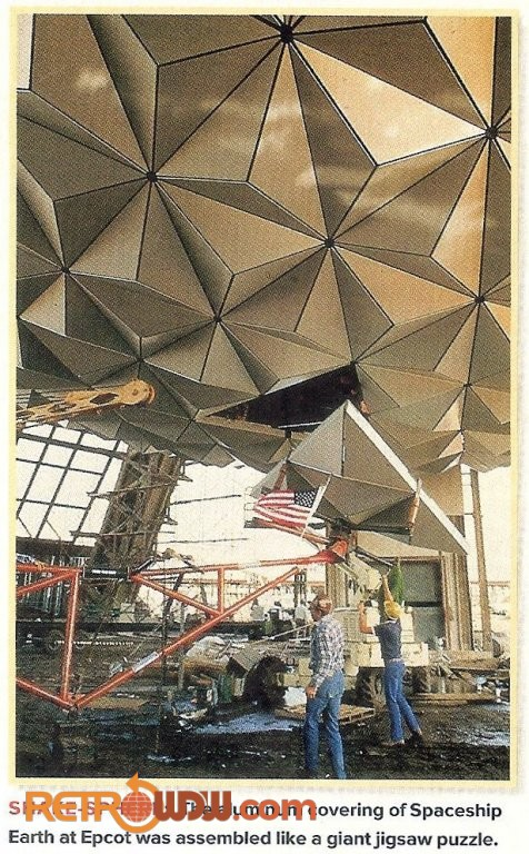 Spaceship Earth getting Alucobond panels installed at its bottom