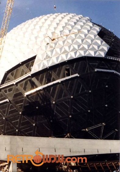 Spaceship Earth with some of its Alucobond panels installed