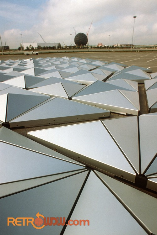 Spaceship Earth Alucobond panels awaiting attachment