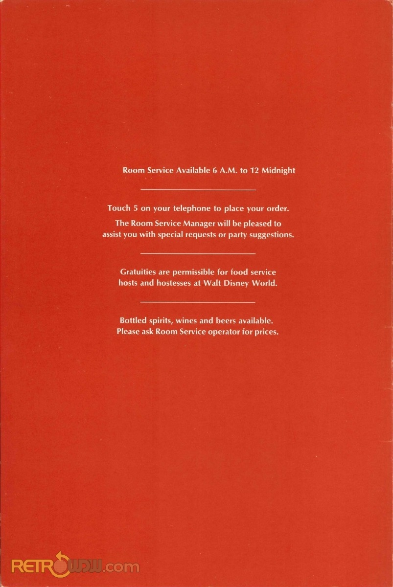 Contemporary Room Service Menu (May 1979) - Interior of Front Cover