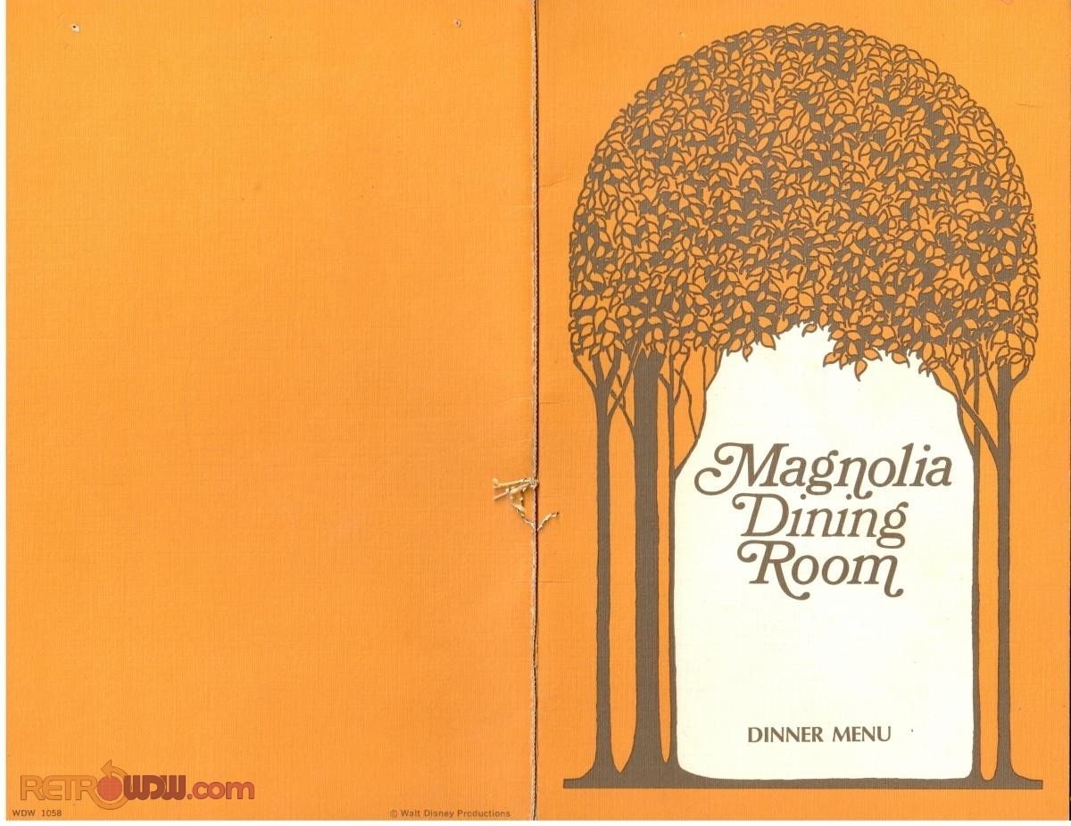 Magnolia Dining Room Cover - Dinner Menu (1974) (Front & Back)