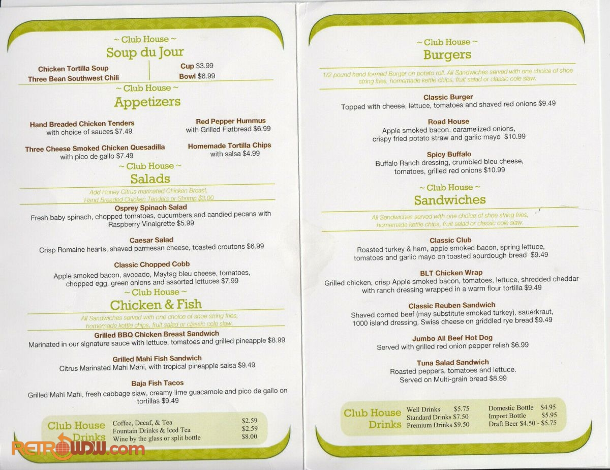 Osprey Ridge Sandtrap Menu - Inside