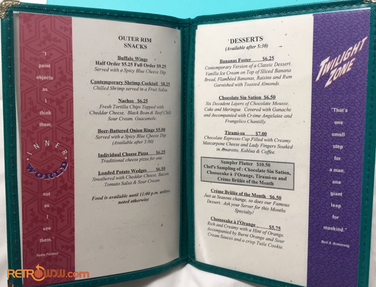The Outer Rim Restaurant Menu (circa 1990s - snack & desserts)