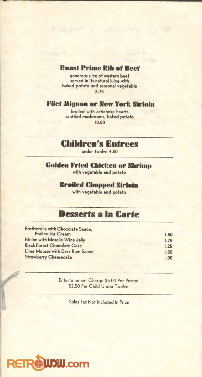 Top of the World Dinner Show Menu (1975)
