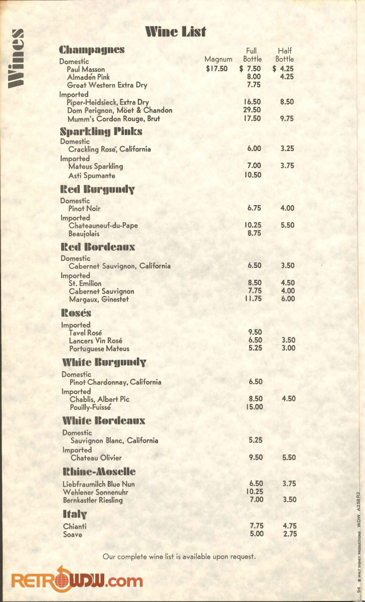 Top of the World Wines Menu (1975)
