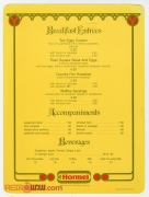 1982 Breakfast at Town Square Menu