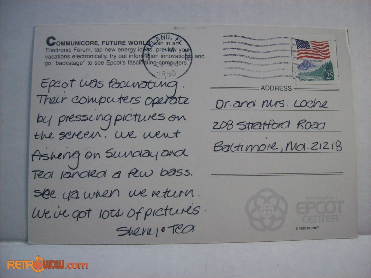 Postcard noting Communicore