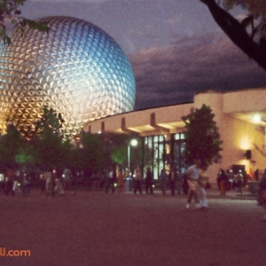 Communicore West and Spaceship Earth at Night