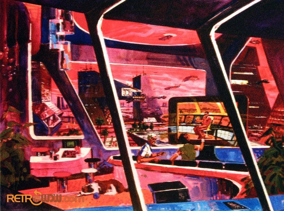 Early Imagineering concept art of the urban habitat in Nova Cite