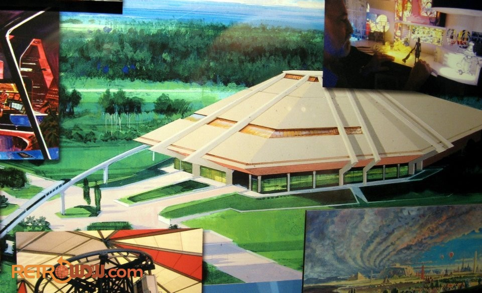 Concept painting of exterior of Horizons surrounded by production art/models