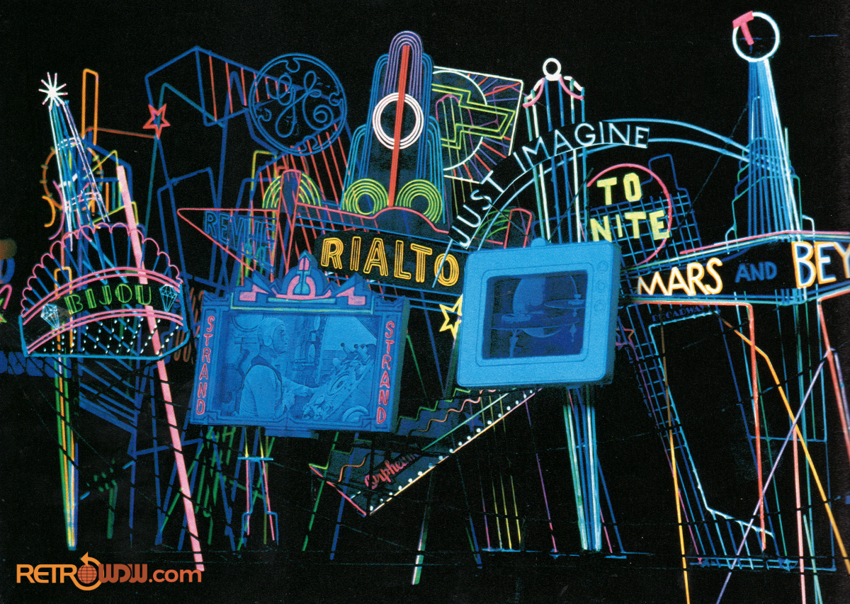 Imagineering study model of the Neon City scene