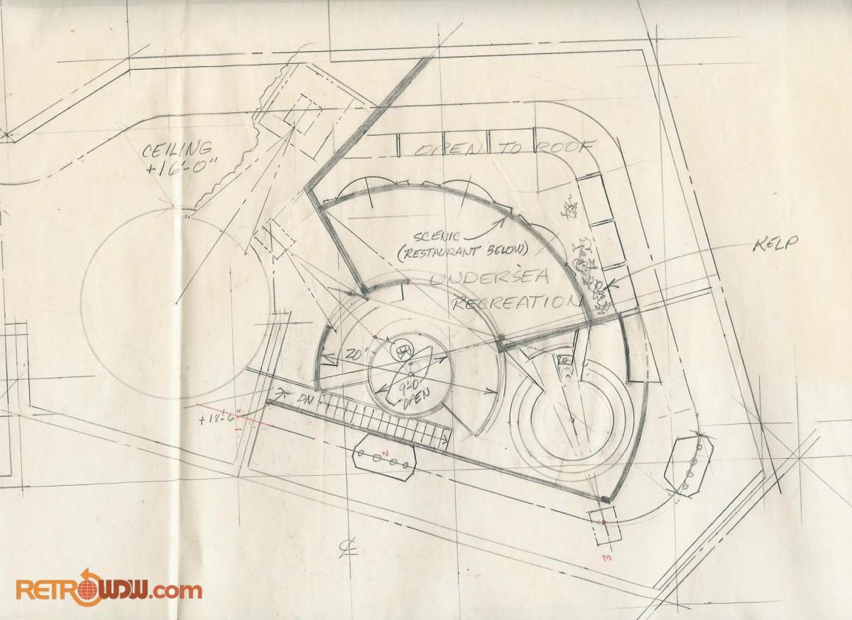 Undersea recreation scene hand drawn blueprint