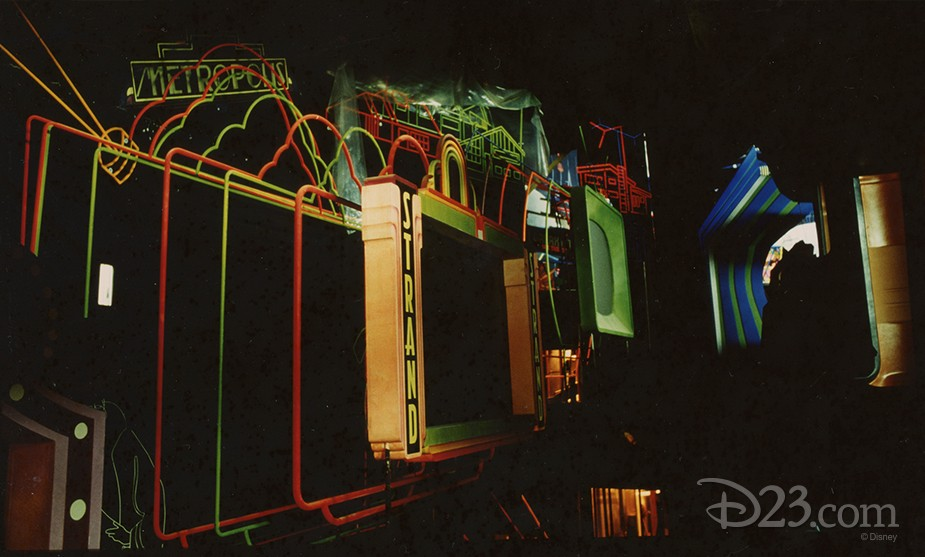 Horizons neon city scene under construction