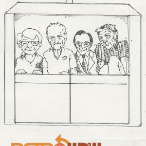 George McGinnis, John Hench, Marry Sklar and Claude Coats in an Horizons Gondla - Sketch by Imagineer John Horny