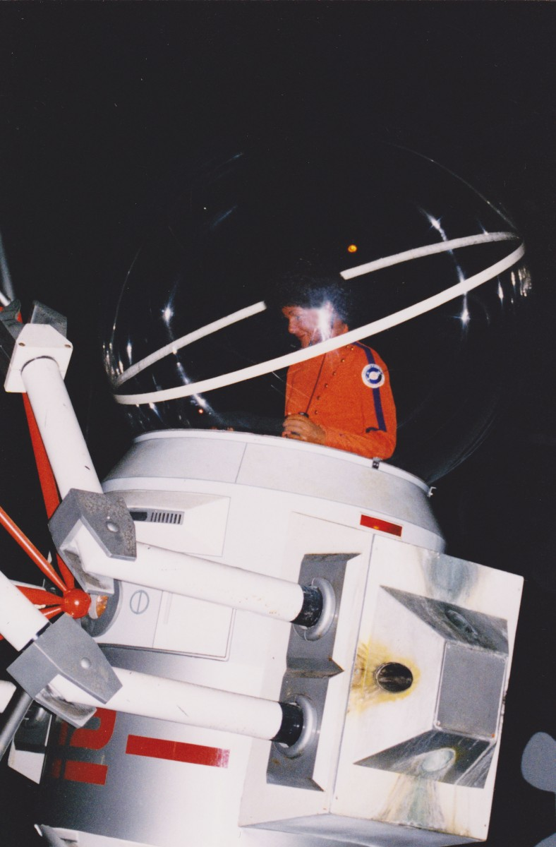 Outer Space Scene - Astronaut Working on a Solar Power Station