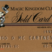 1999 Magic Kingdom Club Gold Card