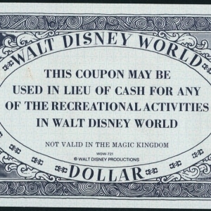 1971 - $1 - Recreation Coupon - WDW - Back