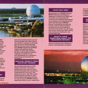 EPCOT Center Teacher's Center Pamphlet (Inside)