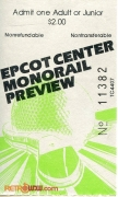 EPCOT Monorail Preview Ticket
