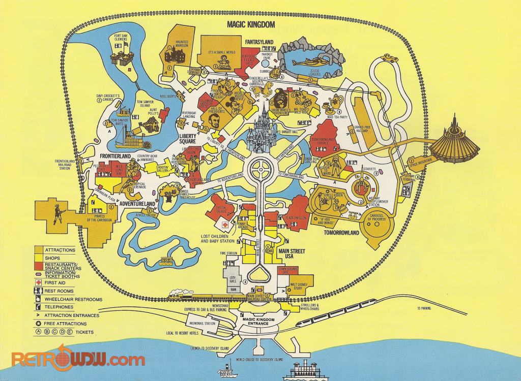 graphic about Printable Magic Kingdom Map identify Walt Disney Planet Maps - RetroWDW