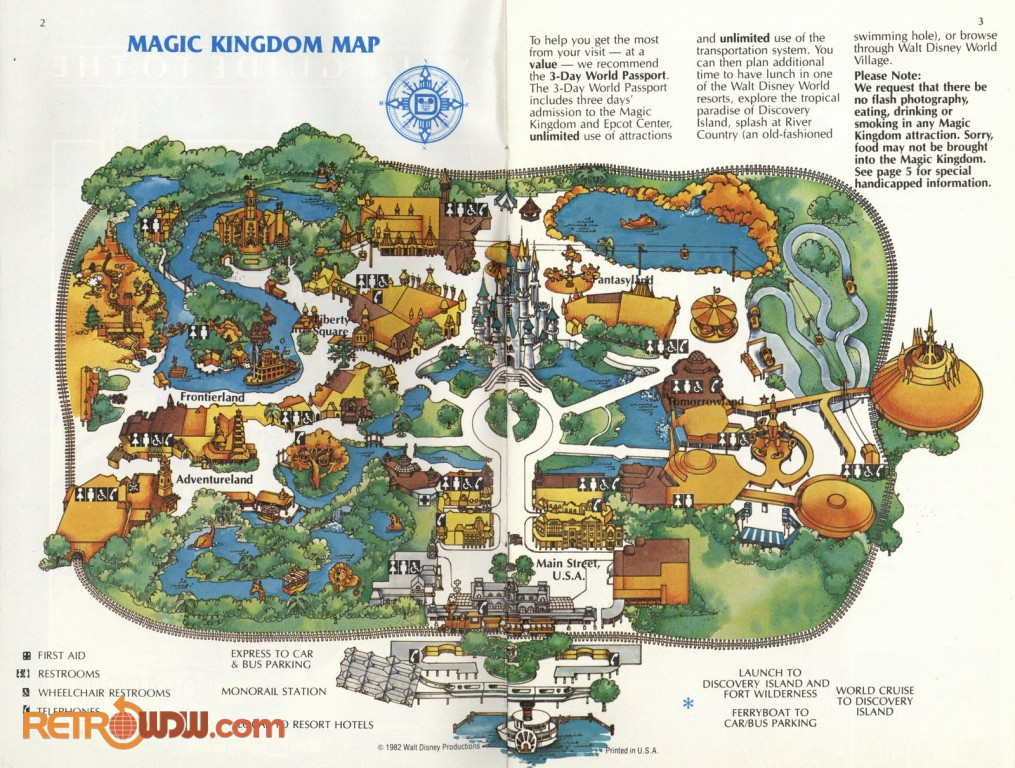 picture about Printable Magic Kingdom Map referred to as Walt Disney World-wide Maps - RetroWDW