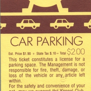 1989 EPCOT Parking Pass - Front