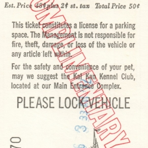 May 1972 Parking Pass