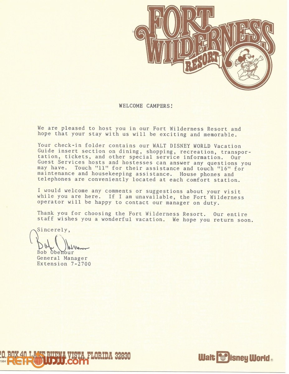 Fort Wilderness Guest Folder Contents (Letter)