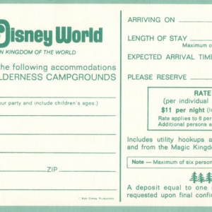 1972 Fort Wilderness Campgrounds Reservation Card