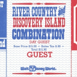 1989 River Country Discovery Island Combo Ticket