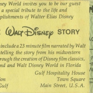 1977 Ticket Book Page - The Walt Disney Story