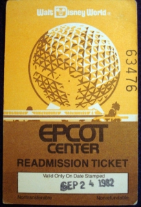 EPCOT Readmission Ticket '82