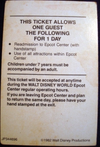 EPCOT Re-admission Ticket '82 (Back)