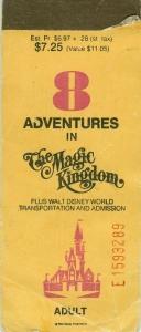 8 Adventures Ticket Book - WDW 1977