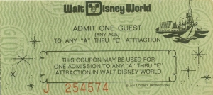 WDW A - E In-park Ticket '77