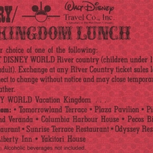 1987 River Country Lunch Coupon