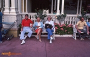 Relaxing on a bench Main Street USA