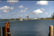 View of ferry boat crossing the Seven Seas Lagoon from the TTC